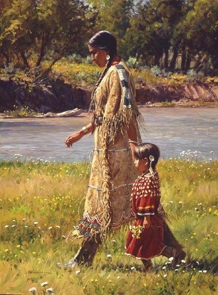 Native American Mother And Child Art Mini Canvas